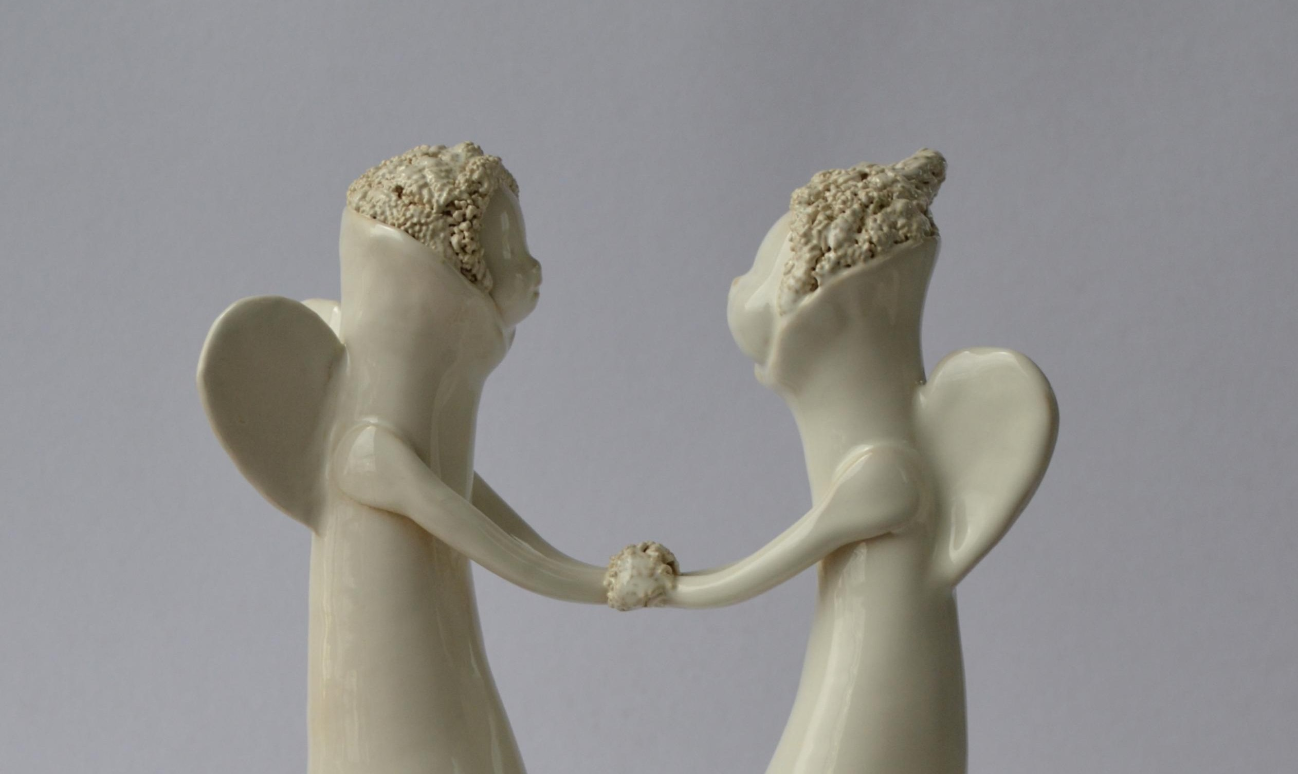 Ranku darbo keramika. Šeimos židinys - žvakidė vestuvėms. Dovana vestuviu proga jaunavedžiams.